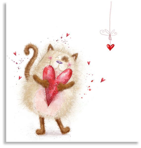 Картинка котенок с сердечком